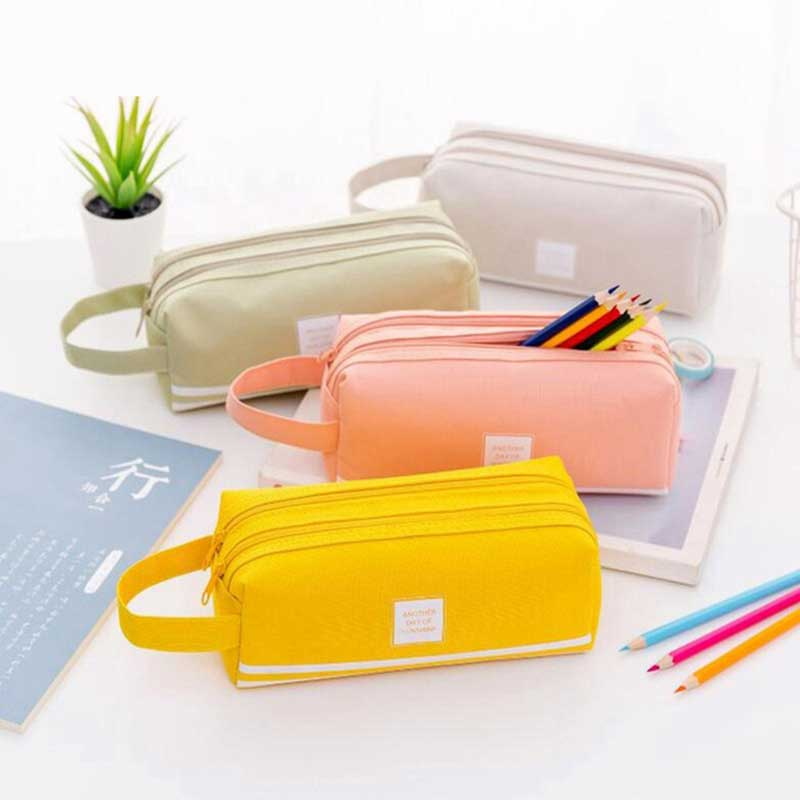 Large Double Zipper <font><b>Pencil</b></font> <font><b>Case</b></font> <font><b>Big</b></font> <font><b>Pencil</b></font> <font><b>Case</b></font> Cute Clear PencilCase Kawaii Bag School Stationery Supplies for Girls <font><b>Pencil</b></font> Box image