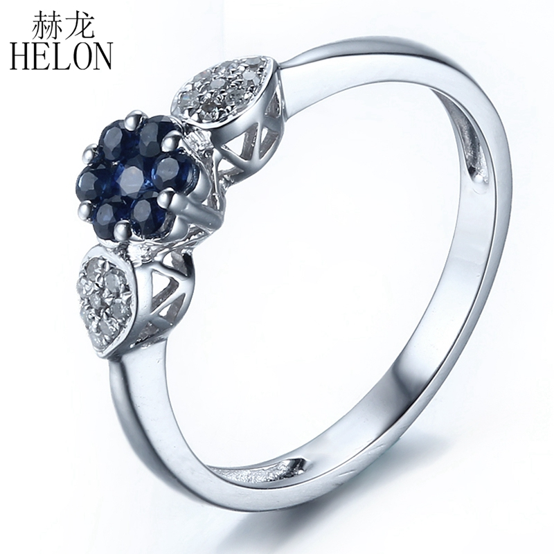 HELON Solid 14k White Gold Natural Diamonds Sapphires Engagement Wedding Ring Anniversary Party Women Band Fine Jewelry Trendy цены онлайн