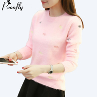 PEONFLY 2017 Autumn Winter Thick Warm Fur Sweater Women Kawaii Knitted Sweater Pullovers Female White Pink