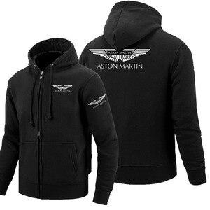 Zipper Hoodies Aston Martin logo Printed Hoodie Fleece Long Sleeve Man's zipper Jacket Sweatshirt(China)