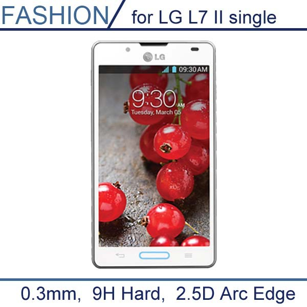 0.3mm Tempered Glass for LG L7 II P714 single SIM card version 9H Hard 2.5D Arc Transparent Screen Protector with Clean Tools