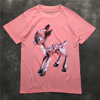Women/men casual pink T shirts european 2018 summer animal Deer print Tee shirt tops women D438