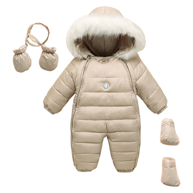 a89106d7db72 50 90 cm baby hooded rompers Winter padded white faux fur hat baby ...