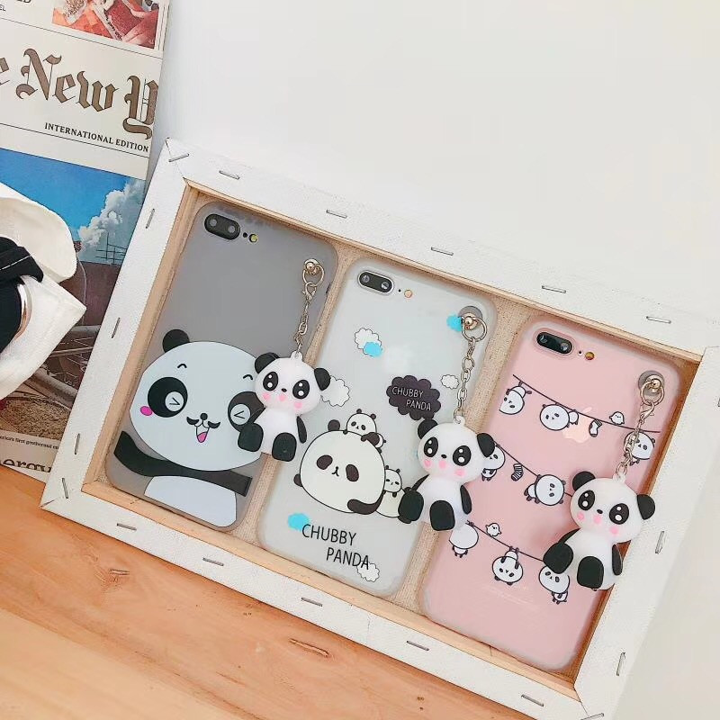 Galleria fotografica For iPhone 6 7 6S 8 Plus Case Animal Cover Silicon 3D toy Cute Cartoon Panda Silicon Transparent Case For iPhone X Case Fundas