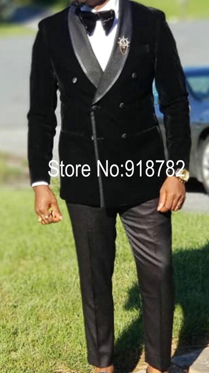 Wedding Suits For Men 2018 Black Velvet Jacket Latest Coat With Pant Slim Fit Men Suit Tuxedo Double Breasted Suit Men