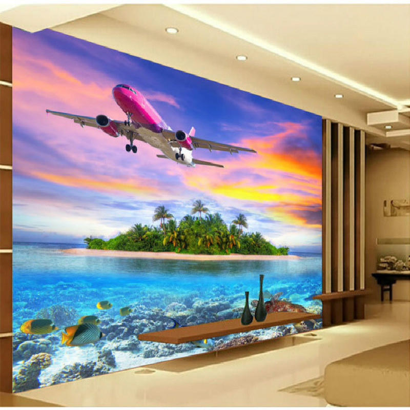 Buy 3d hd underwater world turtle island for Airplane cockpit wall mural