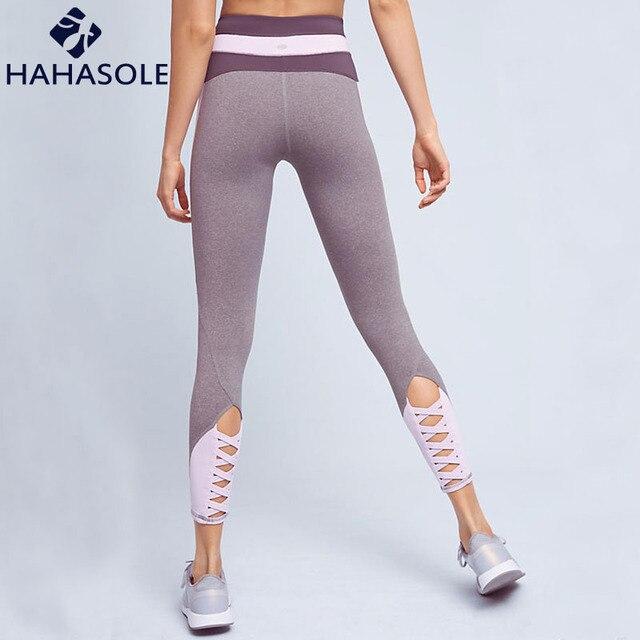 97997fed4f7b5 Women Cut Out Yoga Pants Patchwork Bandage Slim Leggings Ballet Straps Fitness  Pants Running Trousers Jogging Femme HWU0308-5