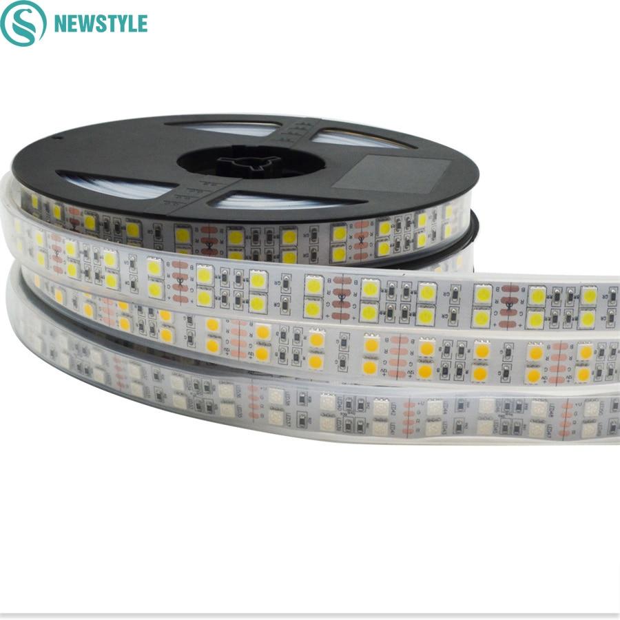 DC12v 120leds/m RGB Led Strip 5050 SMD Led Flexible Lights 5m/reel Double Row Warm White/White/RGB Led Tape Light