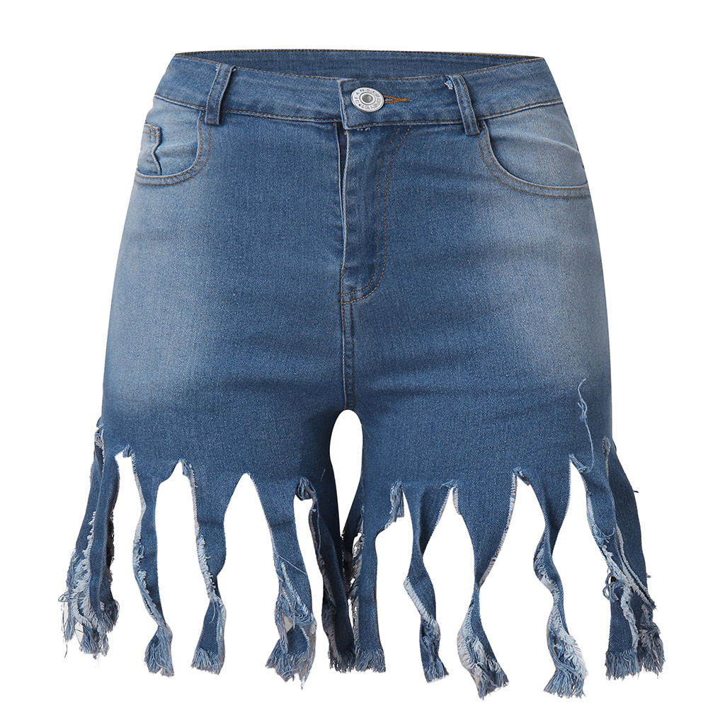 Tassel Jeans Shorts High Waist Sexy Denim Women Summer Beach Ripped Hot Short Pant Bohemian Plus Size Casual Capris For Girls