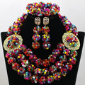 Exclusive Multicolor Wedding Nigerian African Beads Jewelry Set Crystal Balls Chunky Bib Necklace Set Free Shipping WA768