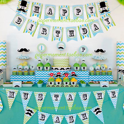 New Children Baby Boy Shower Little Man Beard Birthday Bunting HAPPY BIRTHDAY Banner Decorative Garland