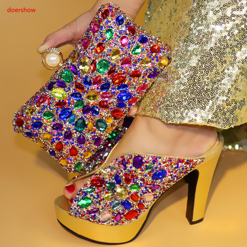 doershow New Ladies Italian Shoes and Bag Set Gold color African Shoes and Matching Bags Italian Nigerian Shoes and Bag PAA1-2 doershow african women matching italian red color shoes and bag set decorated with rhinestone italian ladies shoe and bag sab1 2