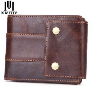 Image 1 - MISFITS 100% genuine leather casual wallet mens with coin pocket short wallet card holders women small purse with zipper pocket