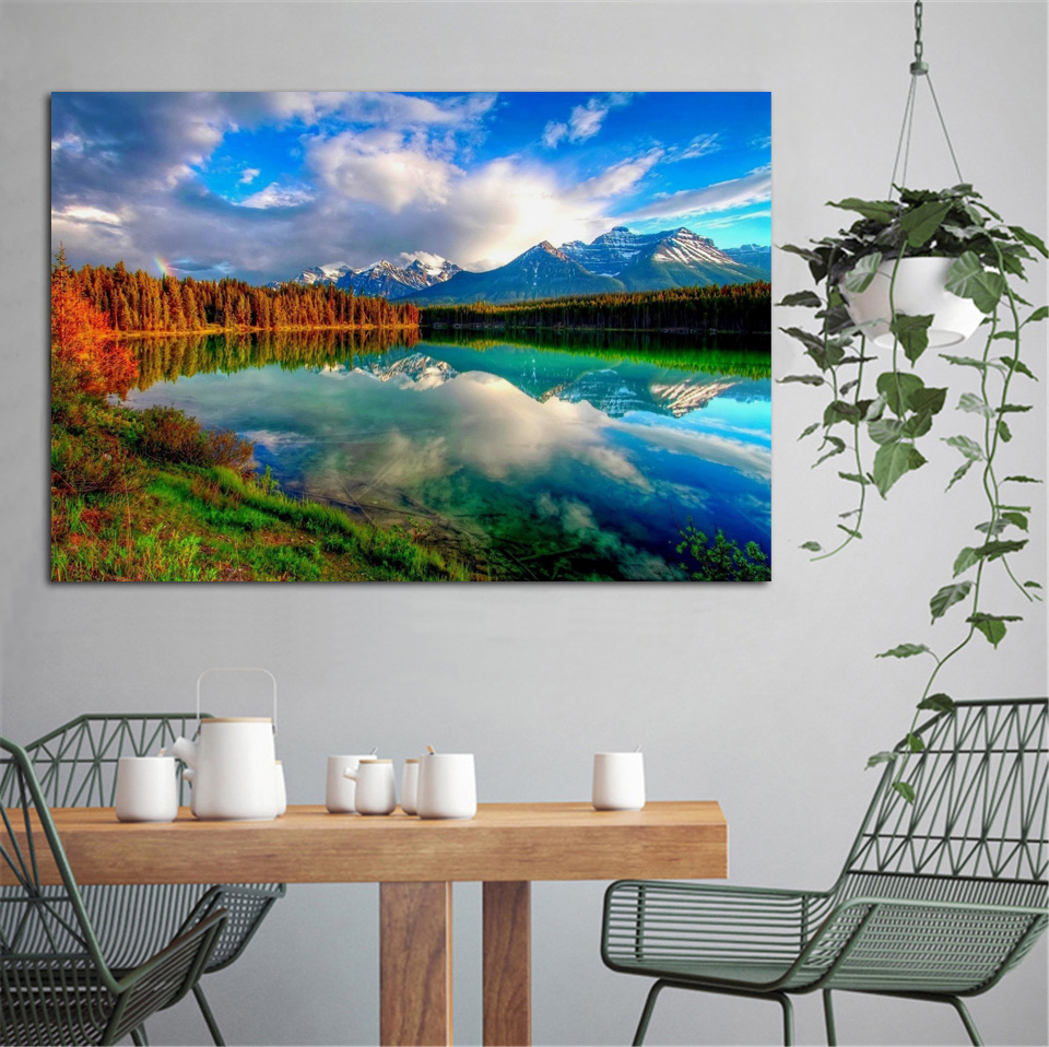Forest Lake Fabric Home: Aliexpress.com : Buy Beautiful Autumn Fall Scenery Forest