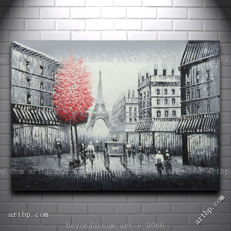 Paris street to eiffel tower black and white oil painting for Eiffel tower wall mural black and white