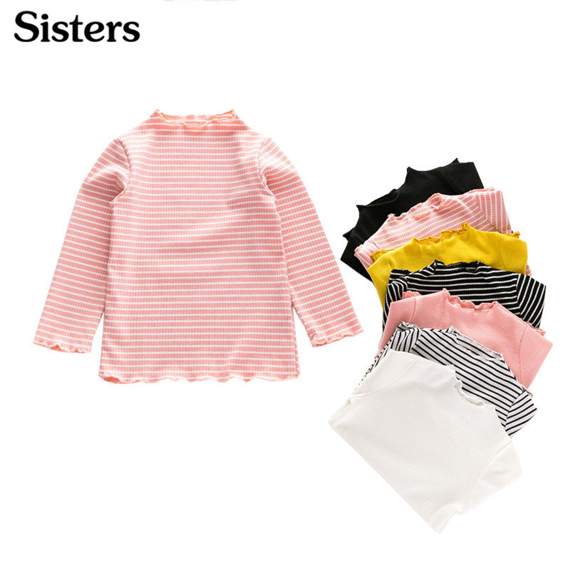 Child T-Shirt Sisters Long-Sleeve Sweet Cotton Lace-Collar Pleated Basic