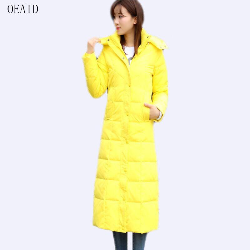Femmes 2018 Gray light Et Manteau 3xl Survêtement Veste Dames Bas rouge jaune Hiver Vers Taille Manteaux Femme Nouveau Noir Down Plus Jaune Oeaid Vestes Long Slim Le qSvIw