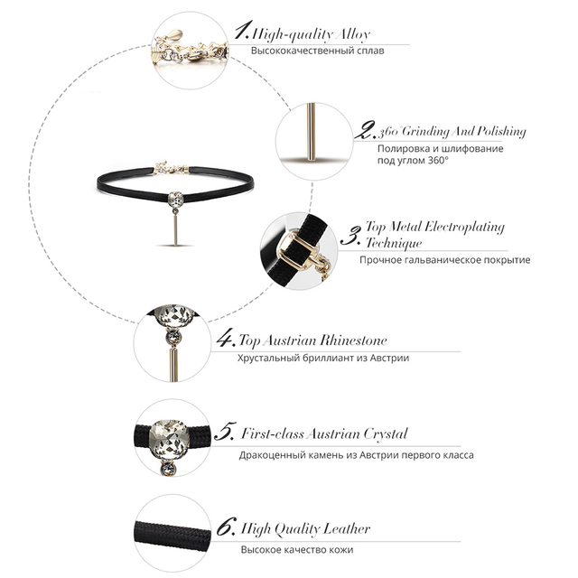 Choker Necklaces with White Crystal Rhinestone Pendant and Black Leather