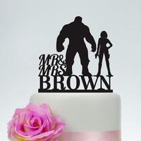 Hulk i Black Widow Wedding Cake Topper, Pan i Pani Akrylowe golg Srebrny drewniane Czarne Ciasto Topper, Superhero Wedding Cake Topper.