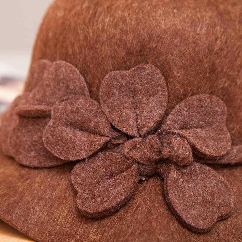 2018 Vintage Gaya Jatuh Musim Dingin Fedoras Topi Untuk Wanita Bunga Top Hat Untuk Lady Gadis Merasa Bowler Floppy Cartola Perempuan Cap