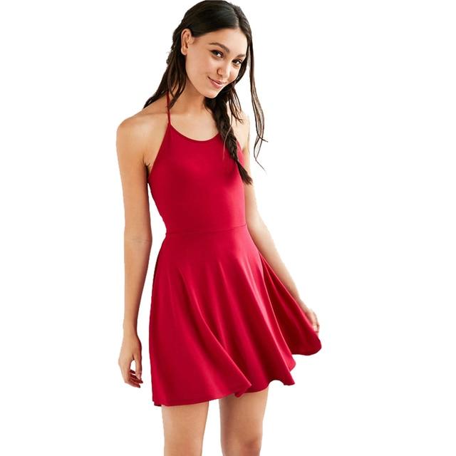 482166a1e2 Sexy Simple Red Black Spaghetti Strap Mini Dress V Neck Cross Back bodycon  bandage dress women Slim A-Line Dresses Club Wear