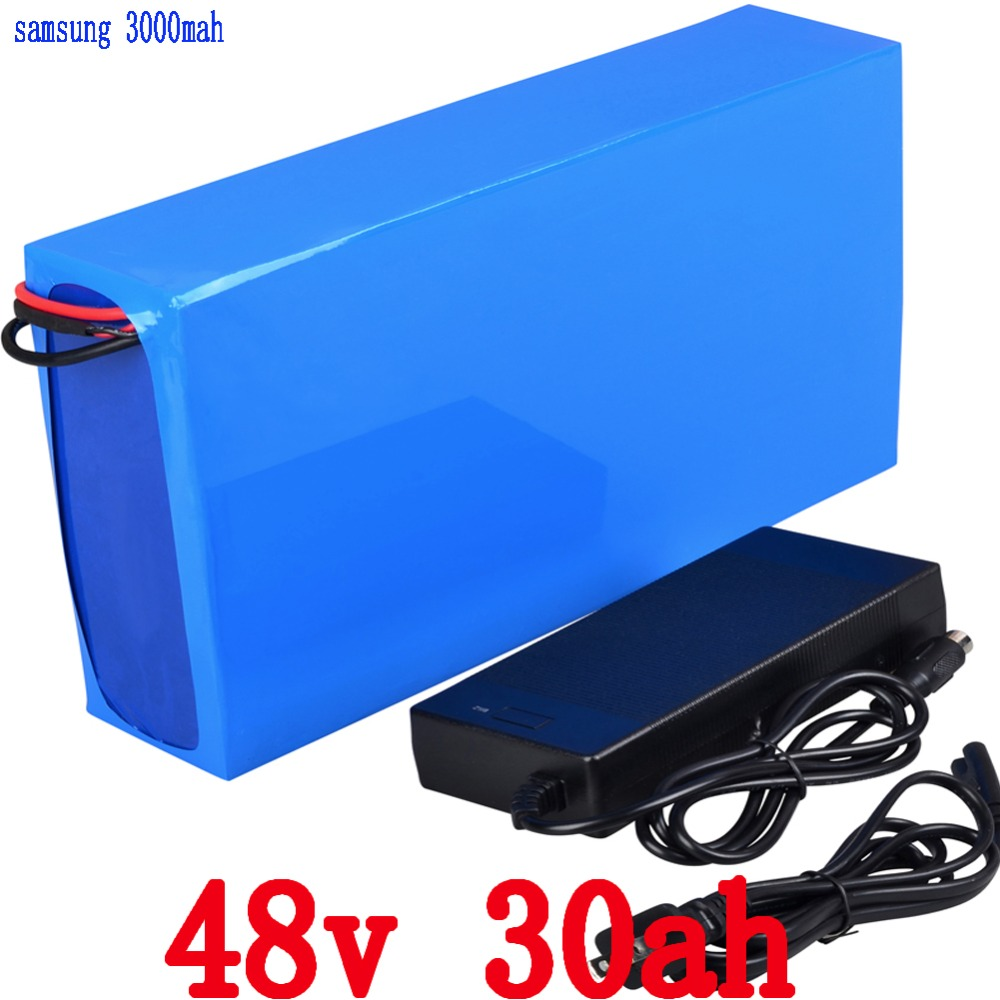 Free Shipping 48V 30AH 2000W Lithium electric bike Battery use for Samsung 3000mah  cell with 54.6V 2A Charger and 50A BMS ebike battery 48v 15ah lithium ion battery pack 48v for samsung 30b cells built in 15a bms with 2a charger free shipping duty