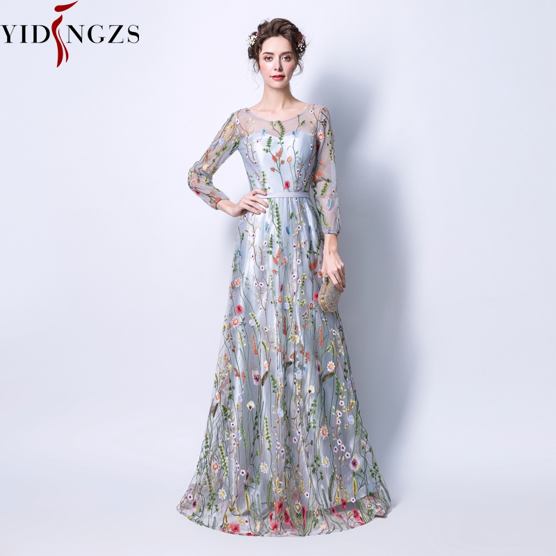 YIDINGZS Women's Formal   Dress   Gray Zipper Back Flowers Embroidery Long Sleeves   Evening     Dress   Party Robe De Soiree