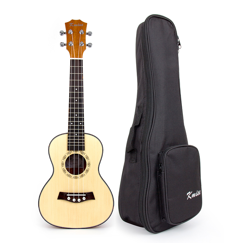 Kmise Concert Ukulele Solid Spruce Ukelele 23 inch 18 Fret Uke 4 String Acoustic Hawaii Guitar with Gig Bag 12mm waterproof soprano concert ukulele bag case backpack 23 24 26 inch ukelele beige mini guitar accessories gig pu leather