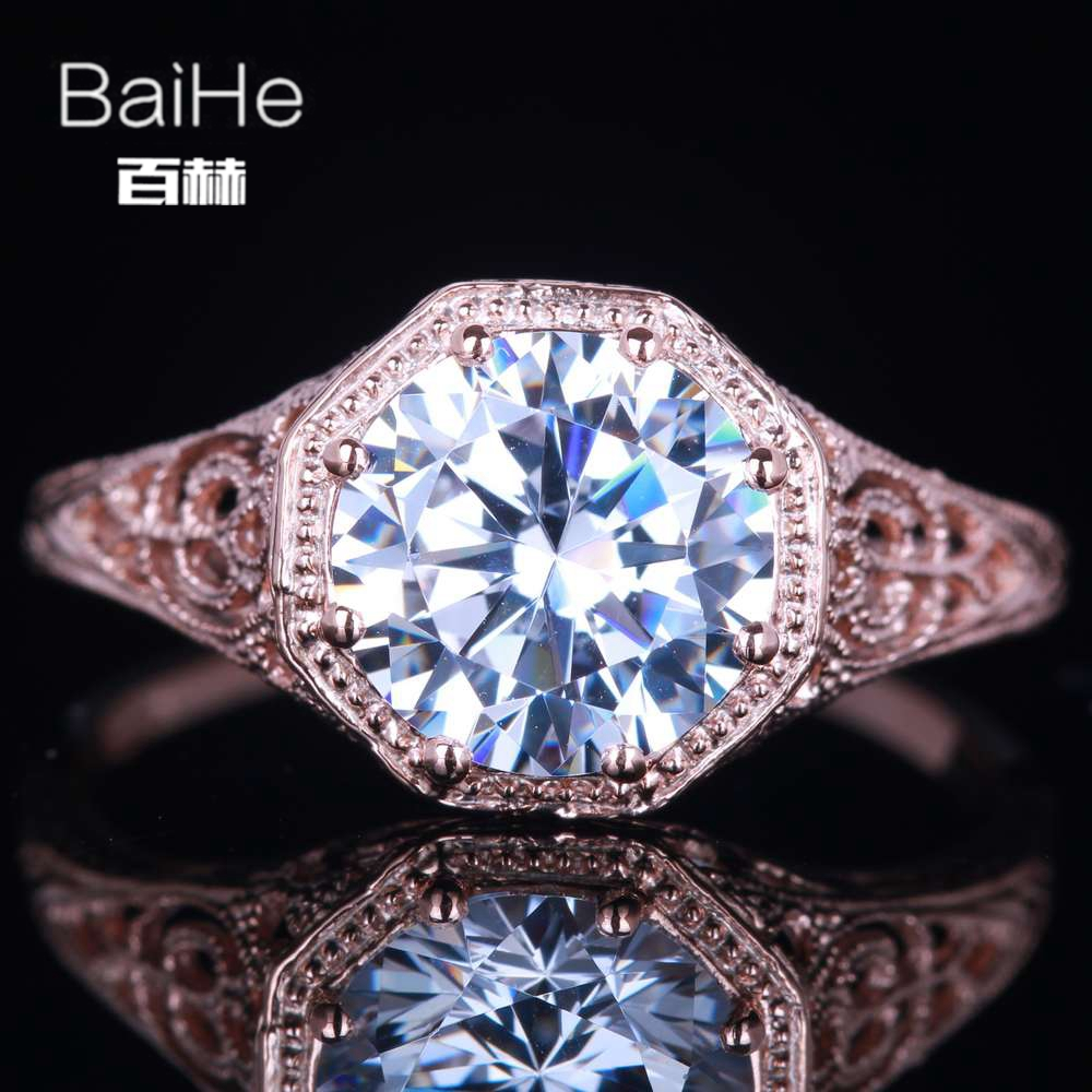 BAIHE Solid 14K Rose Gold(AU585) 1.7CT Certified 100% Genuine AAA Graded Cubic Zirconia Flawless Party Women Fine Jewelry Ring boxpop lb 075 35