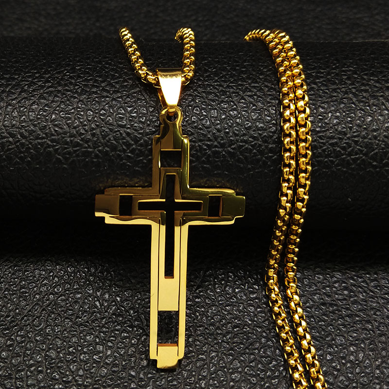 Image 5 - 2019 Fashion Cross Stainless Steel Choker Necklace for Men Gold 