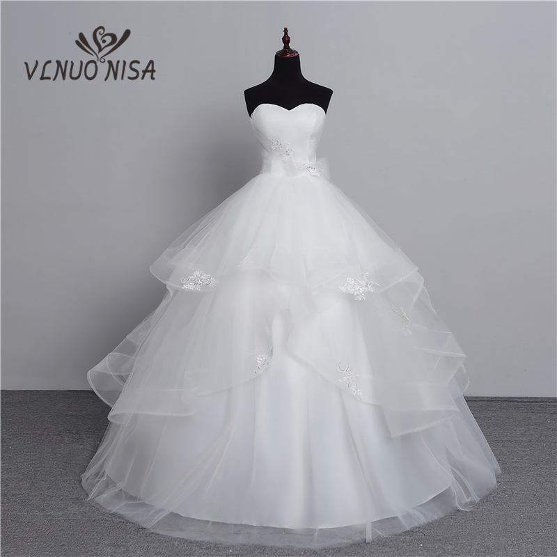 100% Real Photo 2018 Fashion Classic Vintage Lace White Wedding Dresses Plus Size Ball Gown Robe De Mariee Tiered Pleat Custom