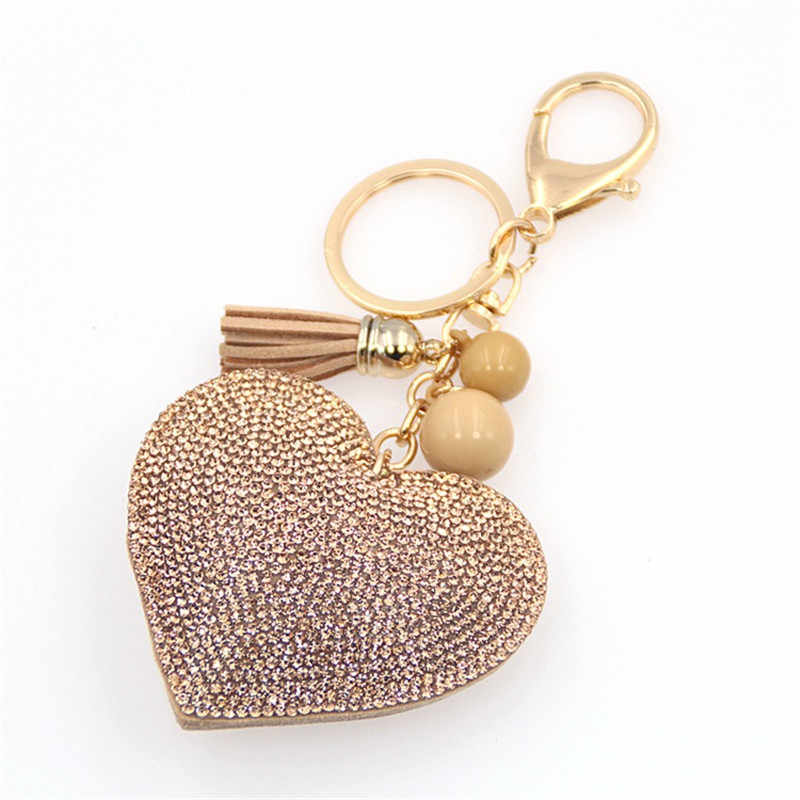 5053463cc4b20 Fancy Fantasy New Love Heart Keychain For Women Crystal Beads Key Ring  Handbag Pendant Charms Long Tassel