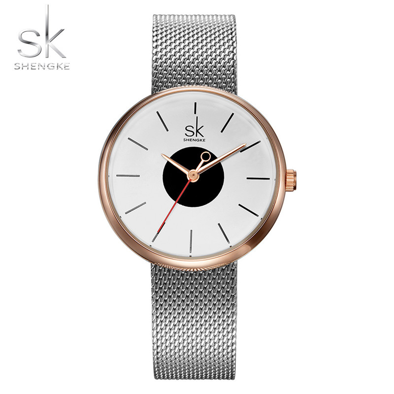 Brand SHENGKE Women Watch  Round unique design Small dial decoration silver white wristwatch gift for ladies chic xinhua 701 round pink dial star shaped case bracelet watch with dots hour marks for women white