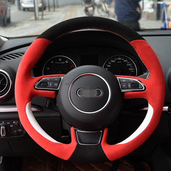 Hand Sew Black Red Suede White Leather Car Steering Wheel Cover for Audi A1 A3 A5 A7