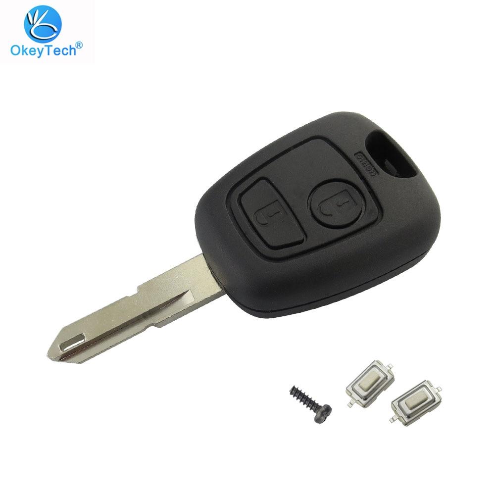 Okeytech para peugeot 106 206 306 406 escudo chave 2 botão ne73 lâmina substituição capa do carro de controle remoto com 2 micro interruptor