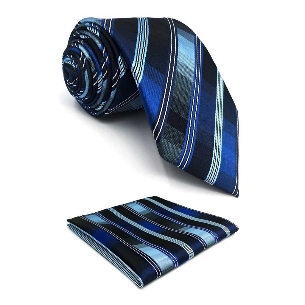 F31 Blue Striped Neckties For Men Set Business Classic XL Pocket Square Party Accessory Slim Tie 6cm Ties For Men