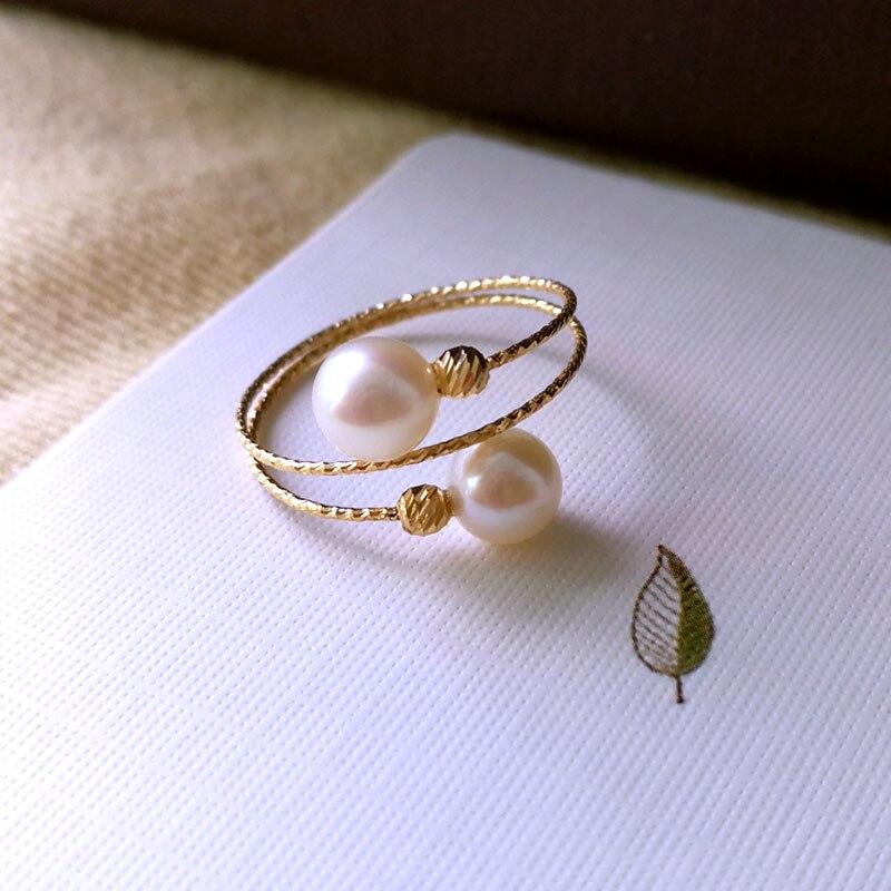 Sinya Au750 18 k or anneau élastique avec perle d'eau douce naturelle pour les femmes filles maman dames anneau porter costume pour la taille de 6 à 8