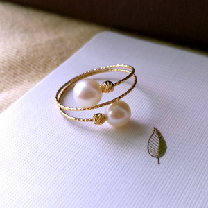 Sinya Au750 18k gold Elastic Ring with natural Freshwater pearl for women girls Mom ladies ring wear suit for size from 6 to 8(China)