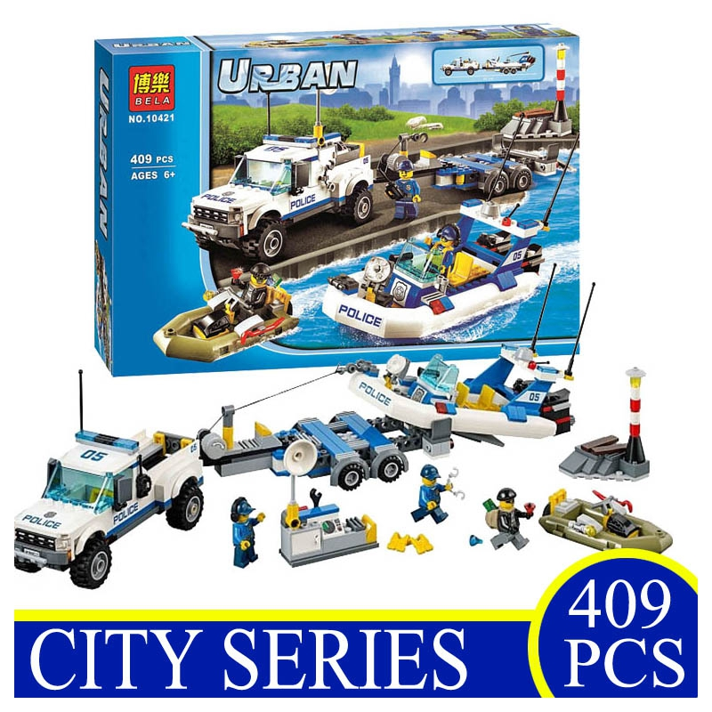 10421 409PCS Urban City Police Patrol Car Speedboat Building Blocks Bricks Educational Children Gift Compatible With LEPIN 60045 lepin 02012 city deepwater exploration vessel 60095 building blocks policeman toys children compatible with lego gift kid sets