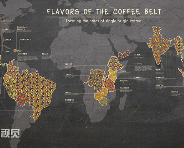 2015 Personality World Coffee Map Vintage Style Wall