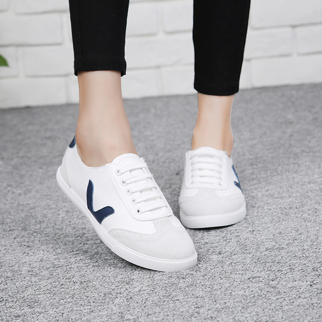 2016 New Autumn Summer Solid Color Low Genuine Leather White Casual Brand Women Flat Shoes Fashion Lace Up Shoe Breathable