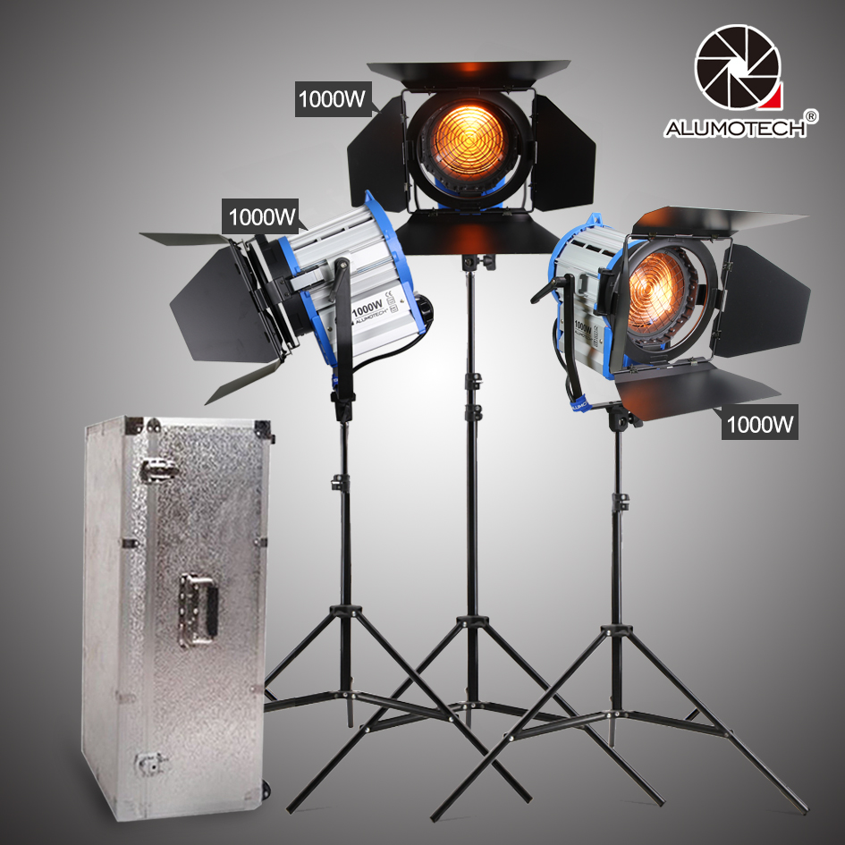 ALUMOTECH For Film 3PCS 1000W Fresnel Tungsten light Dimmer Built in + stands camera video