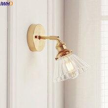 IWHD скандинавский стеклянный настенный светильник рядом с спальней, зеркальный светильник для ванной комнаты, японский стиль, светодиодный настенный светильник, винтажный светильник Эдисона