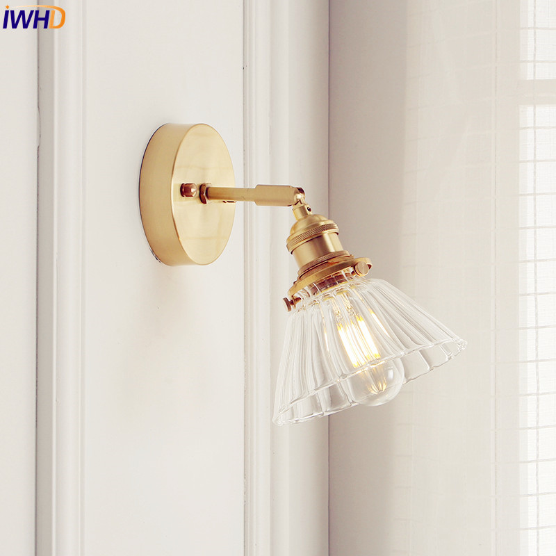 IWHD Nordic Glass Wall Lamp Beside Bedroom Bathroom Mirror Light Japan Style LED Wall Sconces Vintage Edison Lighting Luminaire vintage wall lamp black gold northern american wall light with frosted glass shade bathroom bedroom wall mounted mirror front
