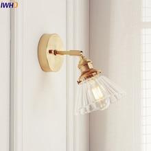 IWHD الشمال زجاج الجدار مصباح بجانب غرفة نوم مرآة حمام ضوء اليابان نمط وحدة إضاءة LED جداريّة الشمعدانات خمر اديسون الإضاءة الإنارة