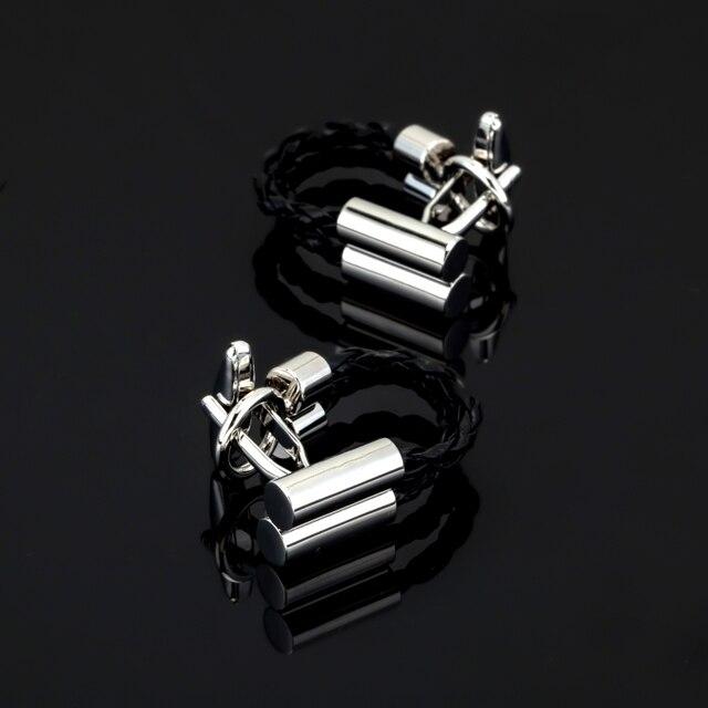 Xk 009 high quality black leather cord Cufflinks mens Wedding