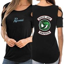 Riverdale 2019 tshirt women shirts kawaii Harajuku off shoulder Summer top T-shirt Women shirt hollow streetwear CG0604