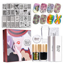 BeautyBigBang 16Pcs Nail Art Set Stamping Plates 10 Style With Clear Jelly Stamper 2pcs Black Stamp Polish