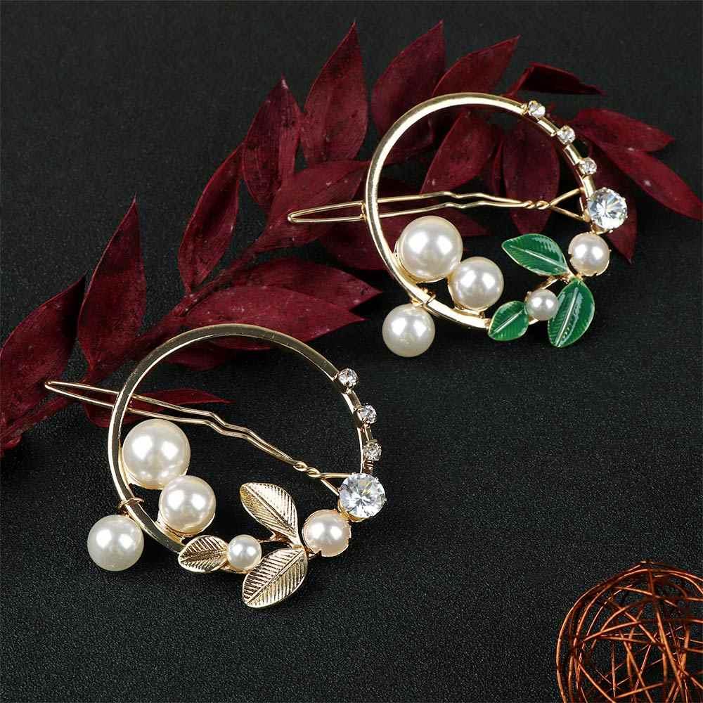 Mode feuilles épingle à cheveux pour femmes cercle Imitation perle perles cristal pince à cheveux Barrette frange épingle côté cheveux Clips chapeaux