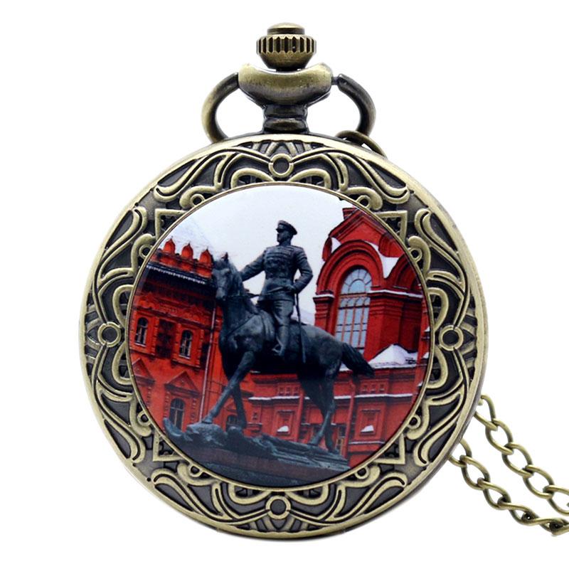Antique Soviet Marshal Zhukov Sculpture Design Red Quartz Pocket Watch With Necklace Chain Men Women Gift